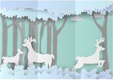 Paper art landscape of Forest with deer. vector paper art style.  Stock Photography