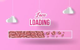 Paper art love loading texture with paper origami clouds in candy pink background.  illustration. EPS 10 Stock Image