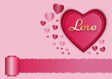 Paper art of love and red heart with pink background, valentine`s day concept, vector art and illustration Stock Images