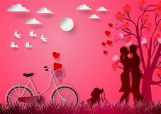 Paper art of with man and woman in love and red heart with pink vector background, valentine`s day concept Royalty Free Stock Photos