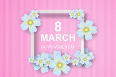 Paper art of 8 March. Happy Women`s Day,Greeting card,flower.vec. Tor illustration vector illustration