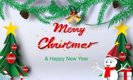 Paper art of Merry christmas background.Christmas party day with. Place for text space.vector,sweet,white,illustration stock illustration
