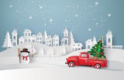 Paper art of Merry Christmas and winter season. Paper art of Merry Christmas and winter season with red truck carry Christmas tree vector illustration