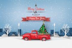 Paper art of Merry Christmas and winter season. stock illustration