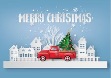 Paper art of Merry Christmas and winter season. royalty free illustration