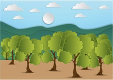 Paper art of mountain and tree with green leaf and the sky with clouds background,vector illustration.  Royalty Free Stock Photo