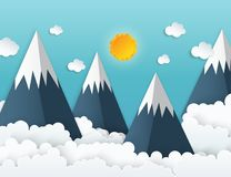 Paper art origami mountains with snow, white fluffy clouds. Blue sky, birds. Landscape with high mountains. Illustration of nature landscape and concept of stock illustration