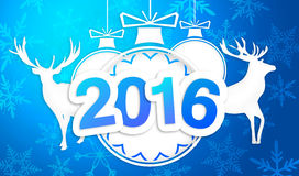Paper Art 2016 Ornament Decorative Blue Background. Digital art Royalty Free Stock Image