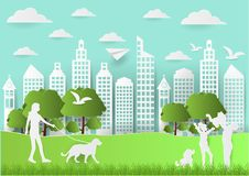 Paper art of people and pets on green background, paper art style vector illustration.  Vector Illustration