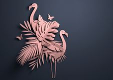 Paper Art - Pink Tropical Background Stock Photography