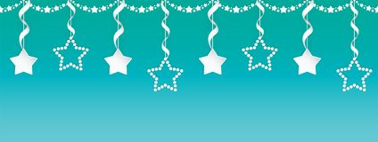 Paper art seamless garland set of stars with silver ribbons on the colorful gradient background. Royalty Free Stock Photos