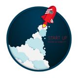 Paper art of space shuttle launch to the sky. Night sky, fluffy clouds. Rocket launch. Start up business concept and exploration idea royalty free illustration