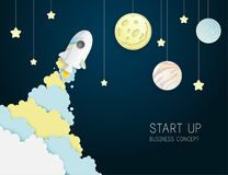 Paper art of space shuttle launch to the sky. Night sky, shining stars, moon, planets, fluffy clouds. Rocket launch. Start up business concept and exploration stock illustration