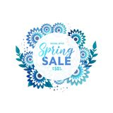 Spring sale paper cut flowers for your design vector illustration