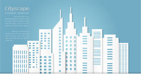 Paper art style for architectural building and cityscape background Stock Images