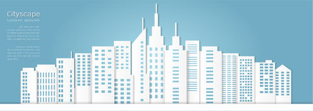 Paper art style for architectural building and cityscape background Royalty Free Stock Photos