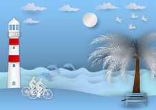 Paper art style, background with man and woman Cycling on the beach  and have a dolphins, vector illustration Royalty Free Stock Photography
