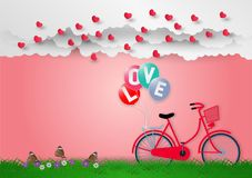 Paper art style of balloons with text love and bicycle on pink background, vector illustration, valentines day concept Stock Images