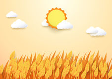 Paper art style Barley field with sun and cloud background. Cute paper art style Barley field with sun and cloud background Royalty Free Stock Photography