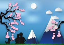Paper art style of Cherry blossom on blue background with man and woman in love.  illustration, valentines day concept Stock Photos