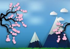Paper art style of Cherry blossom on blue background. vector illustration, valentine`s day concept Stock Photo