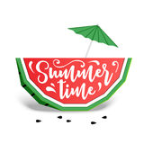 Paper art style colorful watermelon vector illustration. Royalty Free Stock Photo