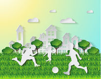 Paper art style.concept of happy playing ball having fun. Vector Stock Images