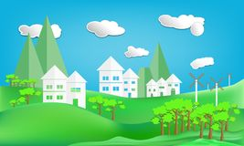 paper art style design house white city town and turbine mountain countryside woodland on Green lawn with sun in sky cloud Royalty Free Stock Image