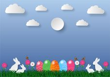Paper art style easter holiday background with eggs on green grass and white rabbit , vector illustration.  Stock Images