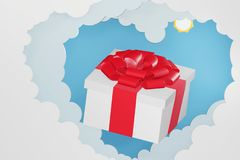 Paper art style of Gift box break thru from Heart shaped cloud and blue sky background. royalty free illustration
