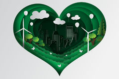Paper art style of heart green town with ecology concept idea Stock Photos