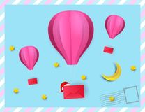 Paper art style of hot air balloon pink color hang red envelope vector illustration