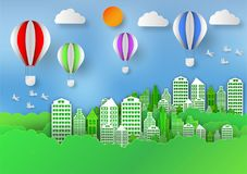 Paper art style of Landscape With Balloon in City to save the world and ecology idea, Abstract Background, vector illustration.  Royalty Free Stock Photography