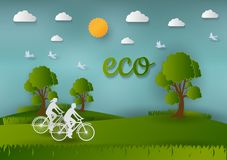 Paper art style of Landscape and People in nature, concept of save the world and ecology , abstract vector background.  Royalty Free Stock Image