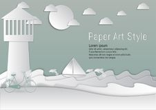 Paper Art Style. lighthouse and Sea with sailboat and Dolphin. vector illustration Royalty Free Stock Photo