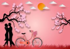 Paper art style of man and woman in love with bicycle and cherry blossom on pink background. vector illustration.  stock illustration