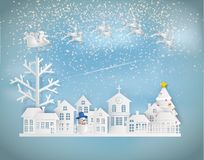 Paper art style of Merry Christmas and Happy New Year. Santa Cla royalty free illustration