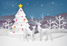 Paper art style of Merry Christmas and Happy New Year. christmas vector illustration