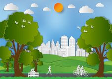 Free Paper Art Style Of Landscape And People In City Parks To Save The World Idea, Abstract Vector Background Stock Images - 107541114