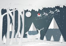 Paper art style, Snowflake and deer for Christmas Season, Vector illustration of Merry Christmas Royalty Free Stock Photography