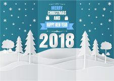 Paper art style, Snowflake and Tree for Christmas Season 2018, Vector illustration.  royalty free illustration