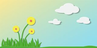 Paper art. Summer day. Paper art. Vector illustration of summer day with air clouds, green grass and yellow flowers. Can be used for wallpaper, pattern fills vector illustration