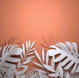 Paper Art - Summer Palm Leaves stock illustration
