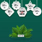 Paper art summer sale template banner with tropical leaves on green background,for poster,flyer,invitation,website,advertising stock illustration
