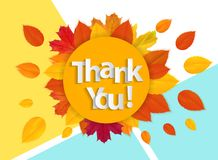 Paper art of thank you lettering background. Vector Illustration stock illustration