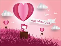 Paper art of  Valentine`s day  in the fileld  on balloon heart love concept. Pink abstract background Used to greeting card. Paper art of  Valentine`s day on Royalty Free Stock Image