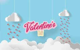 Paper art valentine`s day. rain heart with white origami cloudsin candy color background. illustraion Royalty Free Stock Images