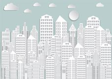 Paper art of white city with sky and Clouds.vector illustration background.  royalty free illustration