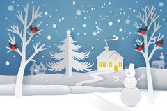 Paper art winter night. Paper cut and craft winter landscape with evergreen tree, house, snowman, moon and snowflakes. Holiday nature and christmas tree. Web Stock Photos