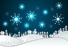 Paper art Winter Snow Urban Countryside Landscape. With fireworks Stock Photos